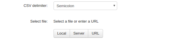 Selecting a CSV file to be imported.