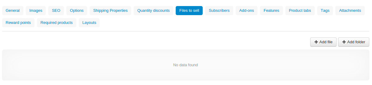 """The """"Files to sell"""" tab lists the files of the digital product."""
