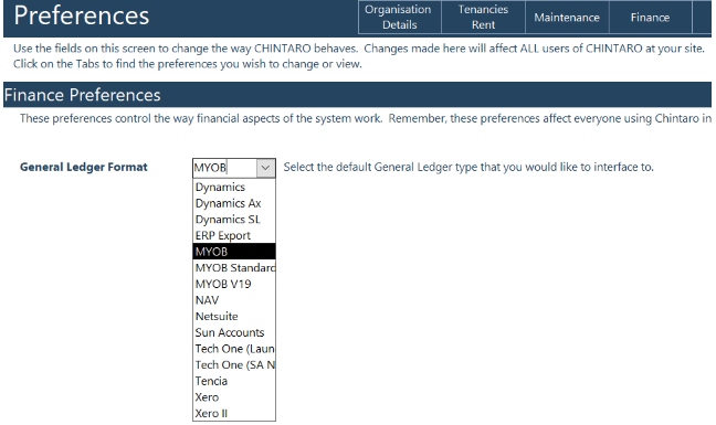 Exporting Tenancy Transactions to your General Ledger Chintaro