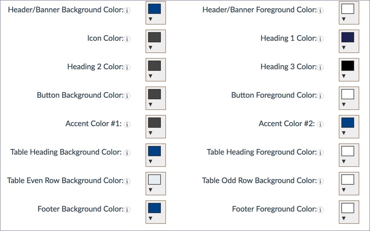 Screenshot of color fields available in CourseArc