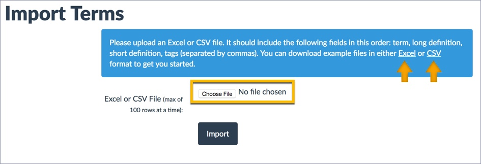 Screenshot of Import Terms button highlighted