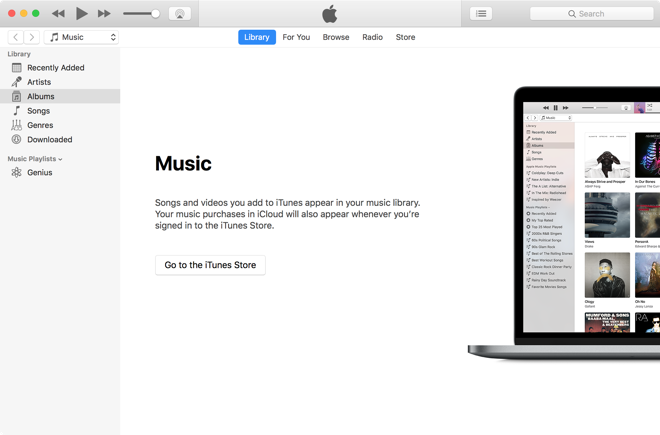 המסך הראשי של תוכנת iTunes