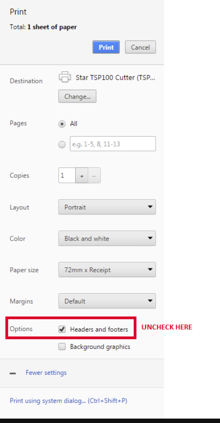 to do this in chrome you hit the more settings button in the print preview and select the correct paper size the below screenshot will allow for you to