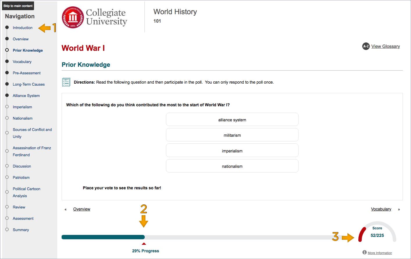 screenshot of student progress on a page