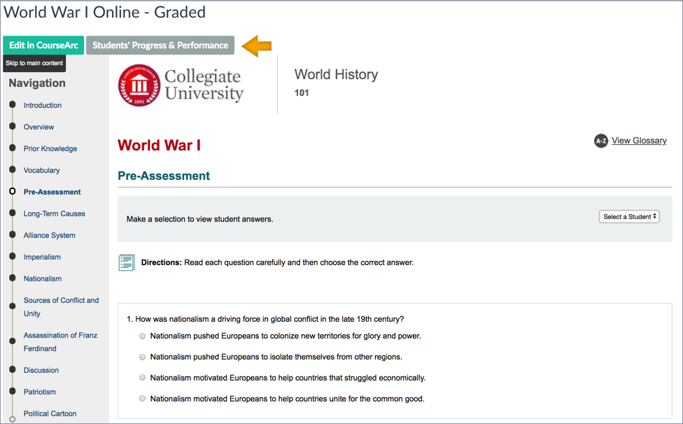 screenshot of the instructor's view inside the LMS.