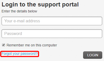 "Red box surrounding ""Forgot your password?"" link on login page."