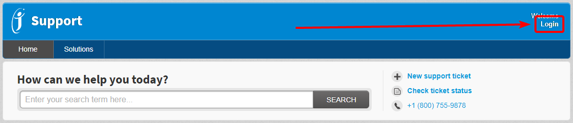 Arrow pointing to Login button in the top right of the support portal
