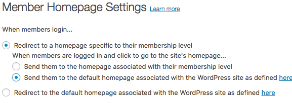 Specific Home Page Settings