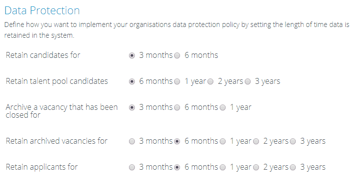 An image of the data retention policy settings