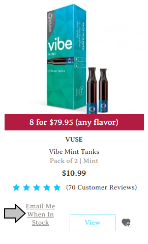 VUSE Vibe Mint Tanks out of stock