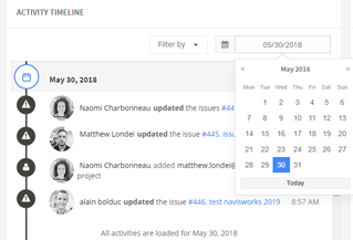 Figure 1.1 - Activity timeline date filter