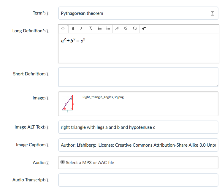 screenshot of a completed glossary term using an equation