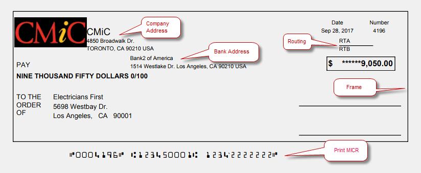 Standard AP Check Formats : CMiC