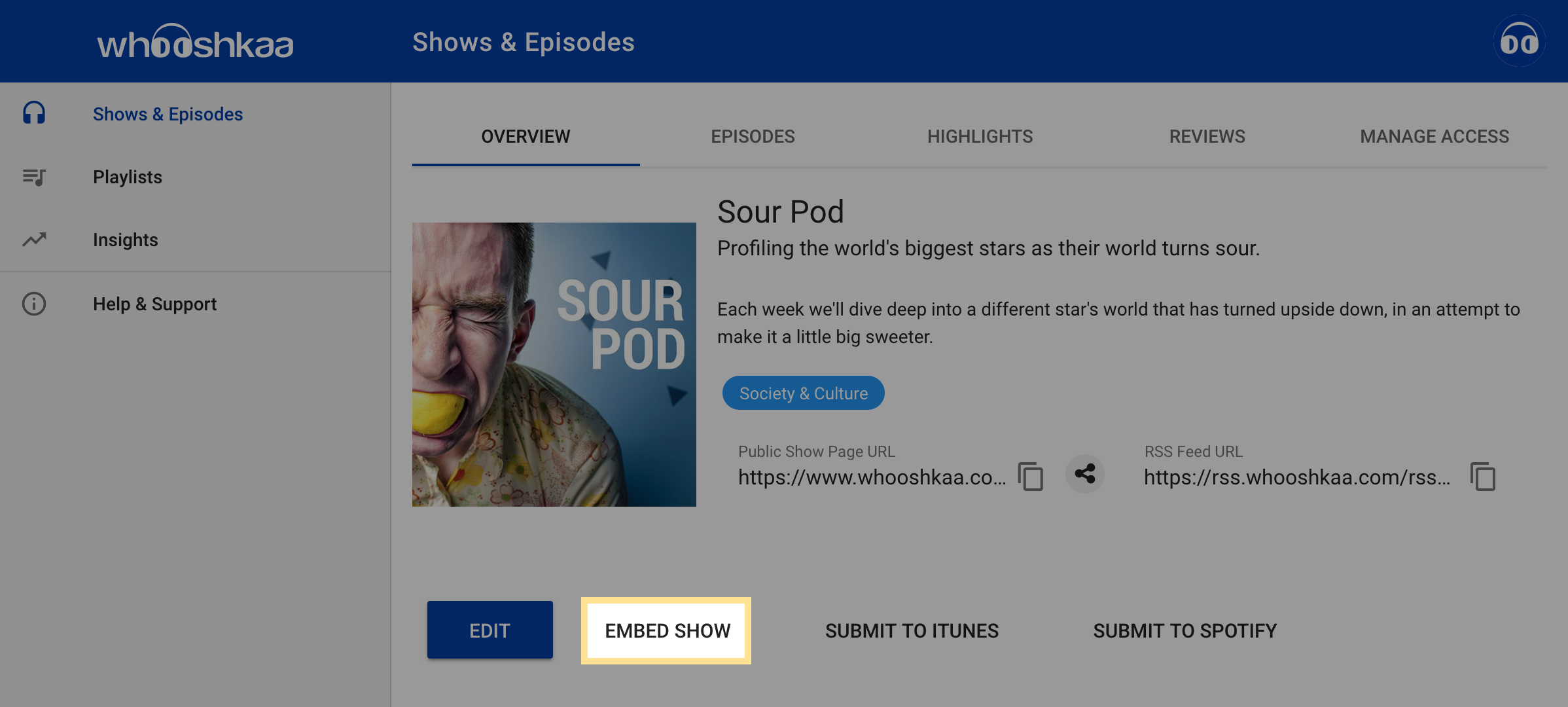 Embed your show in a website : Help & Support