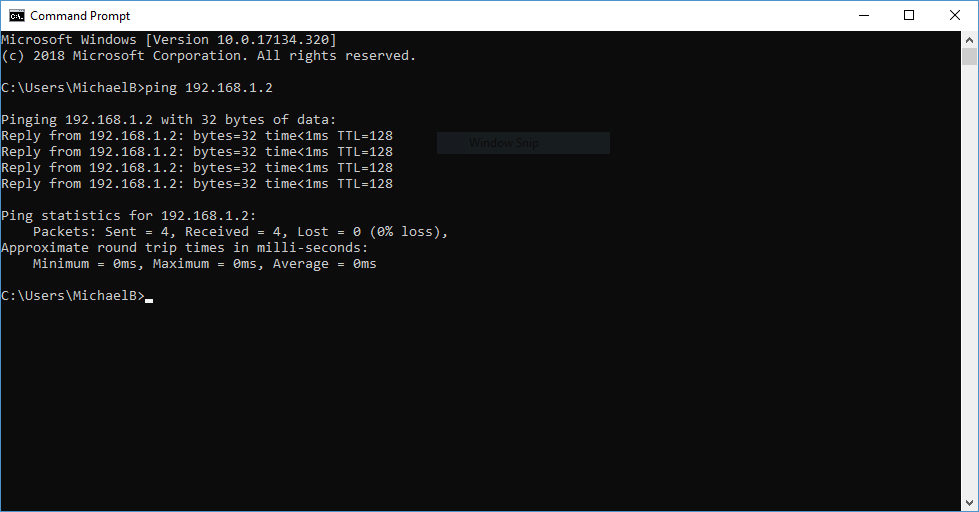 Command prompt ping command example
