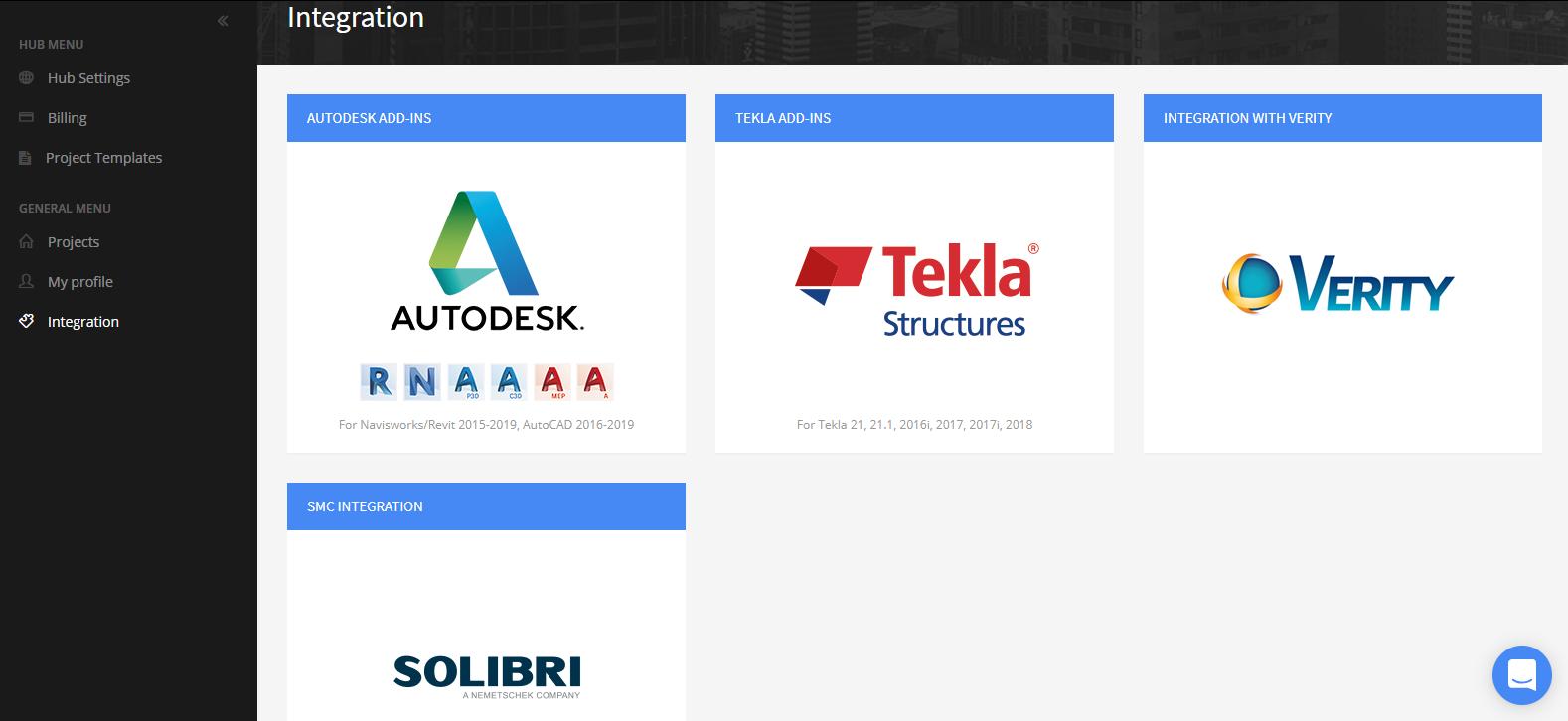 BIM Track Integrations Page