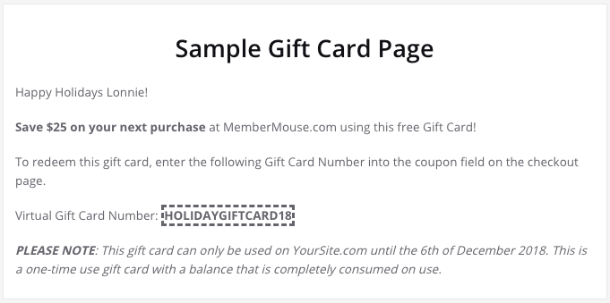 "Virtual Gift Card"" How-To: 3 Methods Explained : MemberMouse"