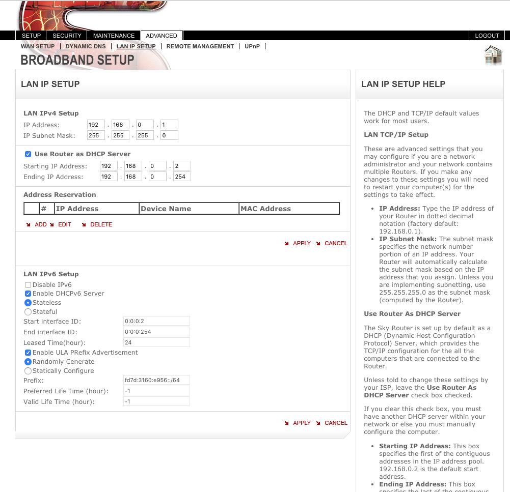 Sky Router Settings >> Dhcp Mode Sky Router Cujo Llc