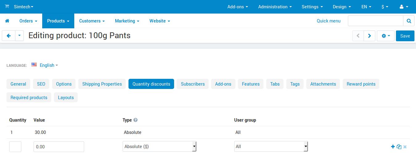 Configuring quantity discounts in CS-Cart.