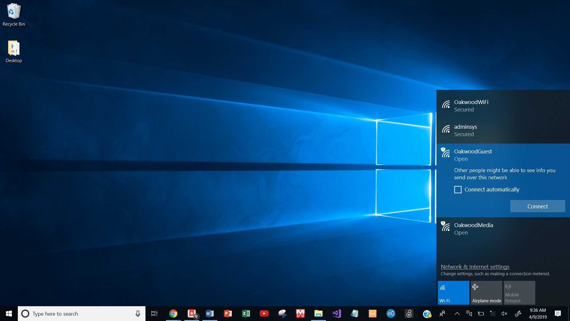 How to connect to the Guest network on Windows 10 : Oakwood