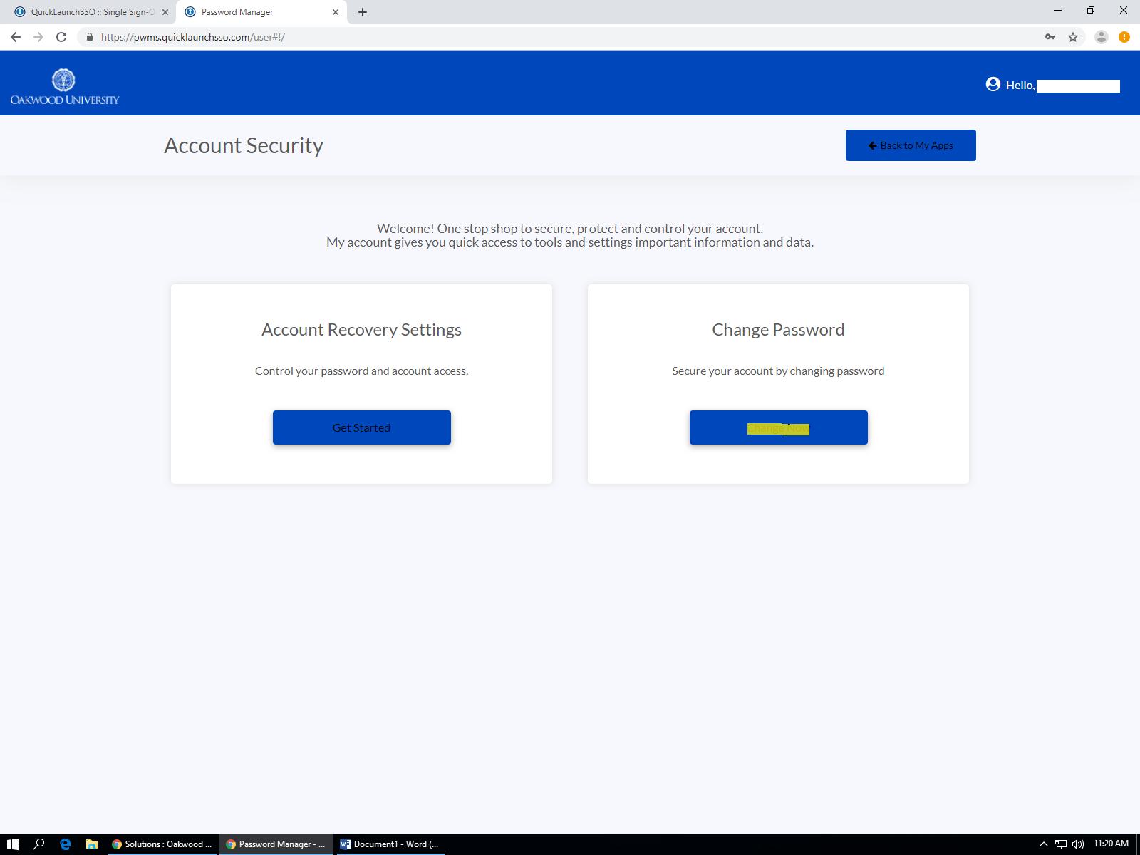How do I change my Oakwood password? : Oakwood University
