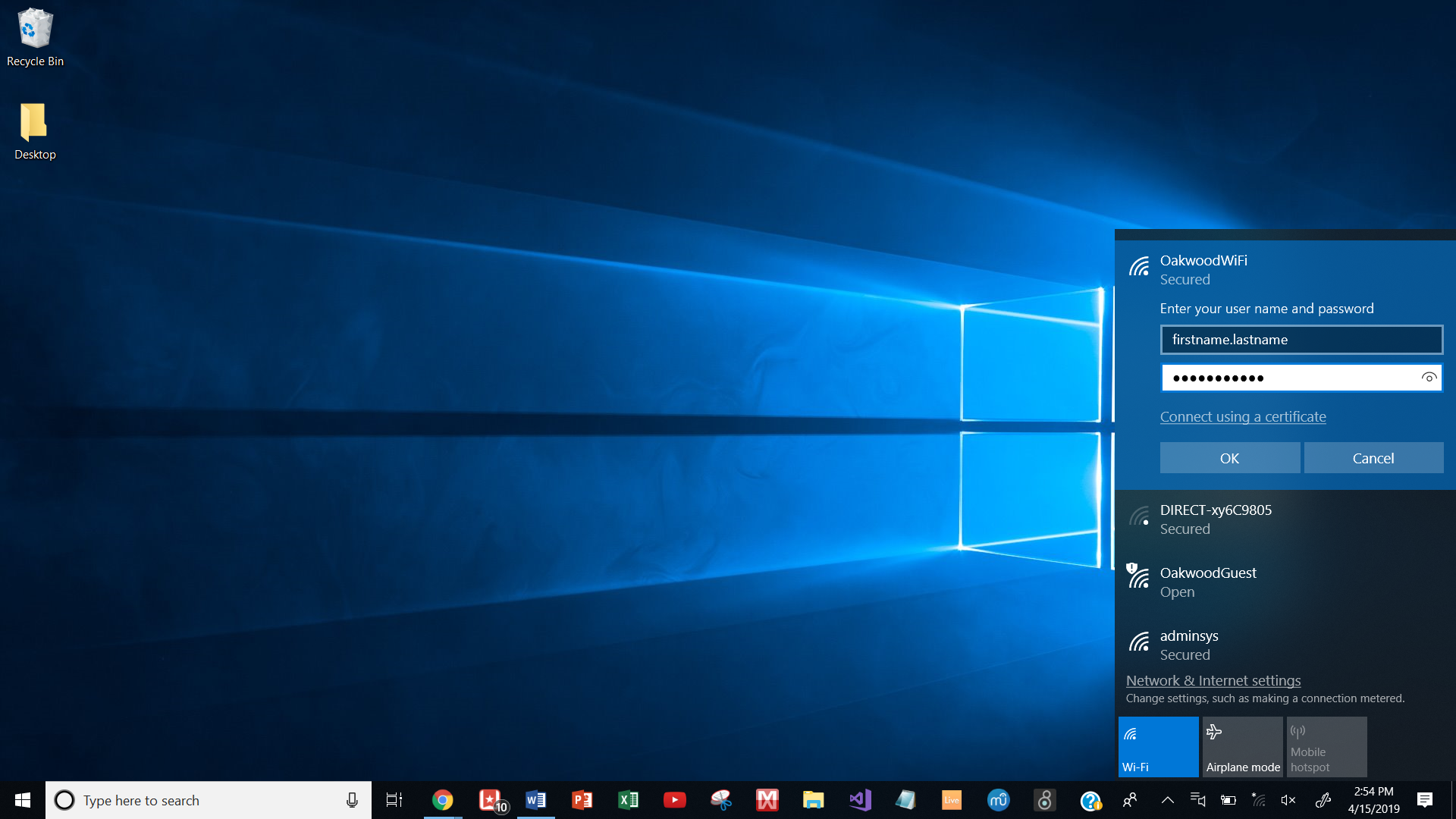 How to join Oakwood Wireless Network on Windows 10 (for students and