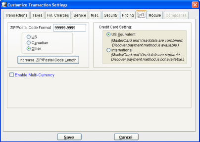 Transaction Settings International Tab