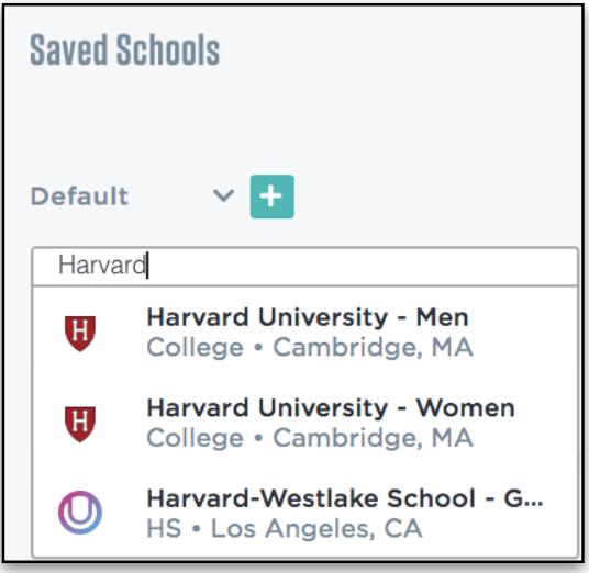 Saved School List : Help Center