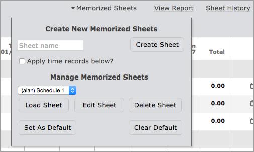 Memorized Sheet options