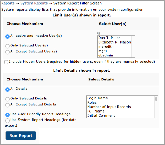 System Reports filters