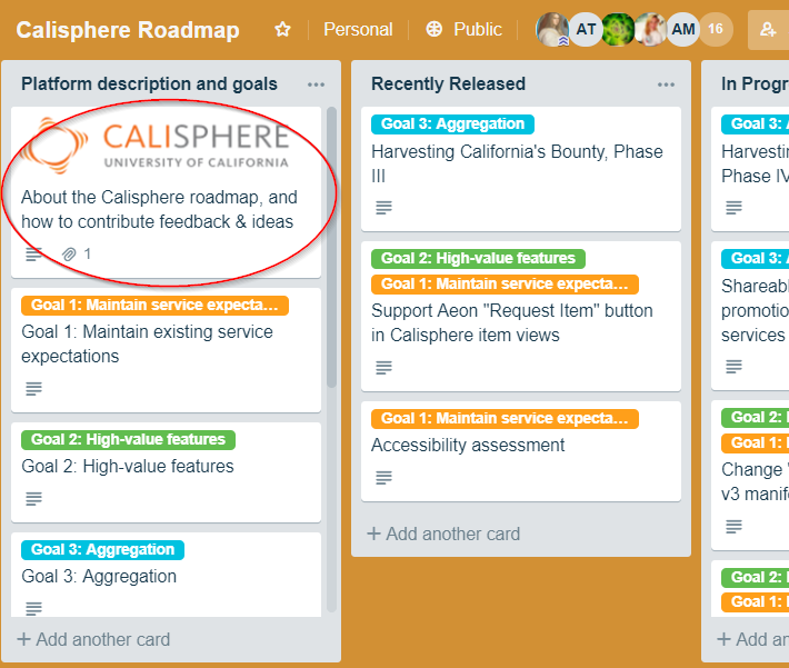 Calisphere's roadmap: Service Description, Feature Requests, and Goals (above)