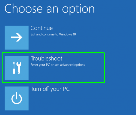 click troubleshoot in advanced startup options