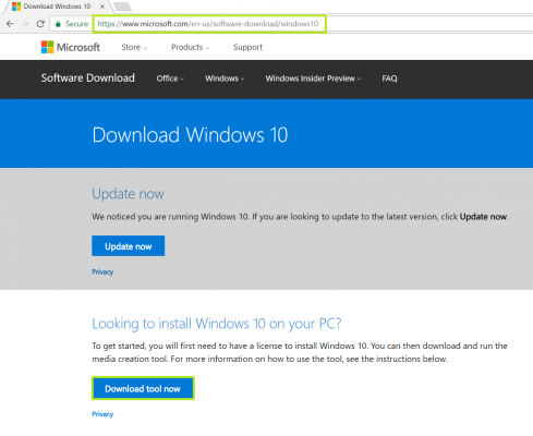 visit microsoft software page and download windows 10