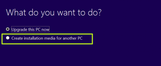 click create installation media for another PC