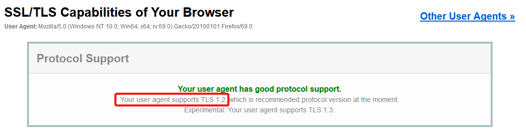 TLS 1.2 is supported.