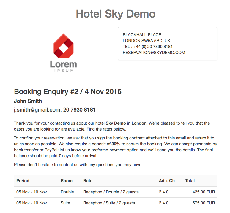 Booking Enquery email