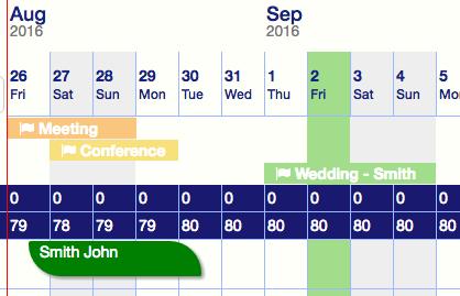 Clock PMS - room calendar
