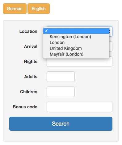 Central Web Reservation System form
