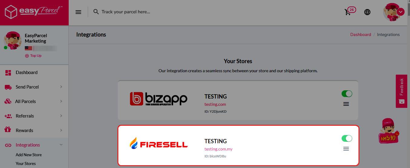 "Step 5 - Click ""Your Stores"" and make sure your FireSell is ""Activated""."