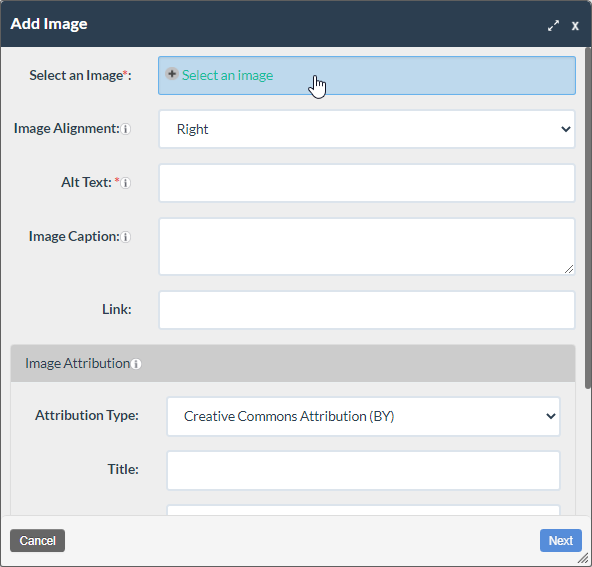 screenshot of the add image form with the Select an Image button highlighted