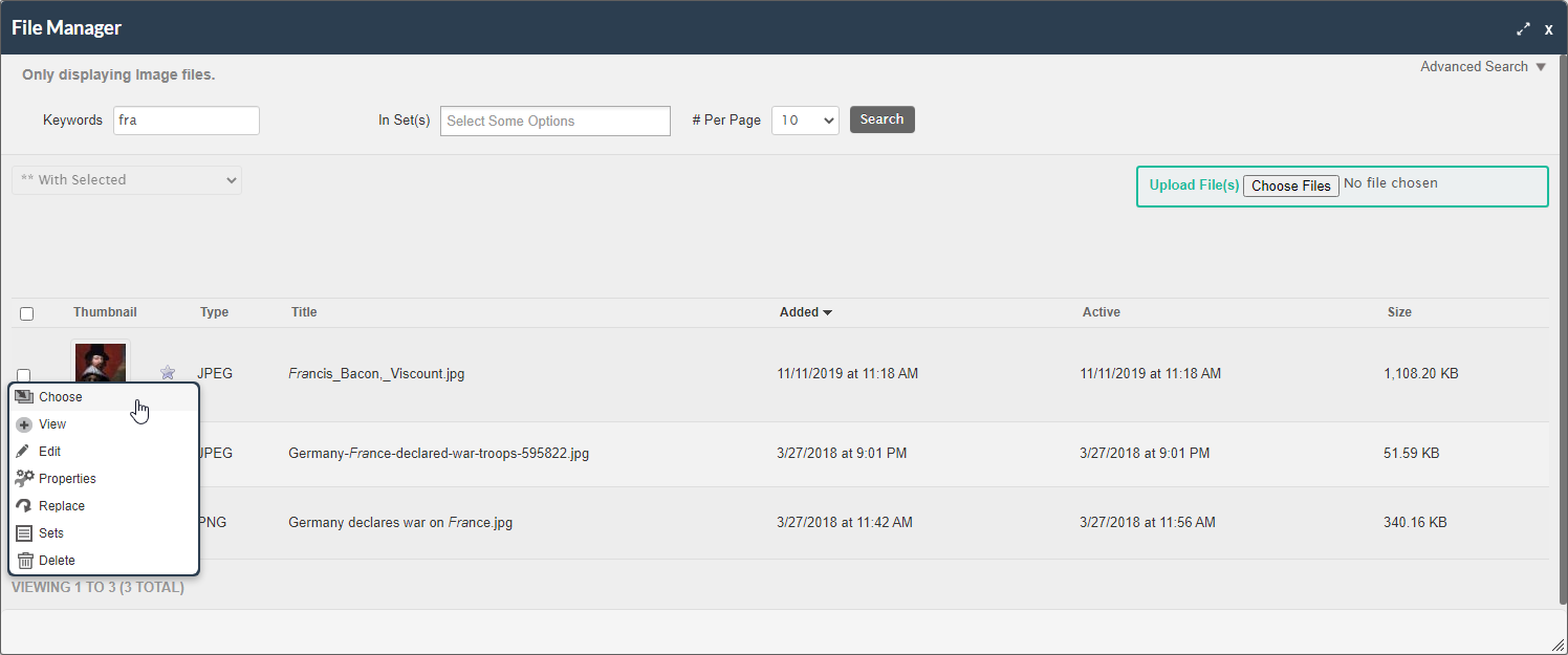 screenshot of the file manager with the keywords, choose file, upload file, chose image, and next button highlighted