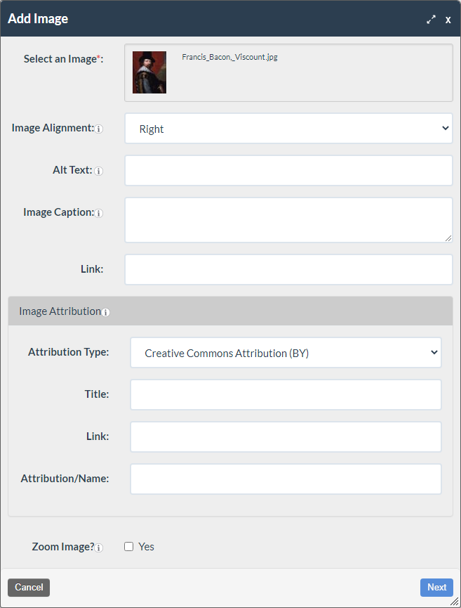 screenshot of the Add Image form completed showing the image selected, alt text, alignment, and caption completed