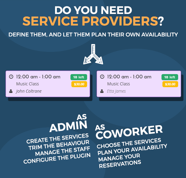 team booking wordpress plugin service providers