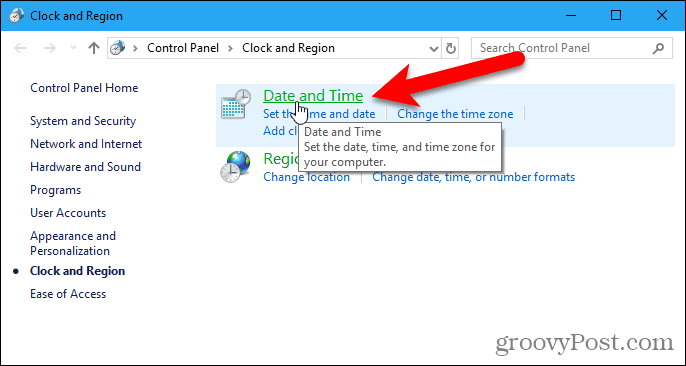 Click Date and Time in the Control Panel