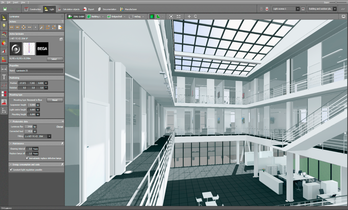 Daylight With Daylight Control Systems And Skylights Knowledge Base Dialux Evo