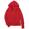 Red Ladies' Textured Fleece Pea Coat