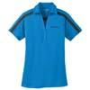 Ladies' Brilliant Blue/Black Performance Color Block Stripe Sport Shirt
