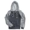 Ladies' Sanded Striped Hooded Pullover