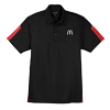 Men's Black/Red Active Textured Color Block Sport Shirt