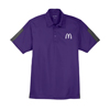 Men's Purple/Charcoal  Active Textured Color Block Sport Shirt